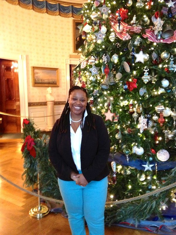 Jeanine Hays in front of the Liberty Christmas tree inside @The White House.  #whsocial