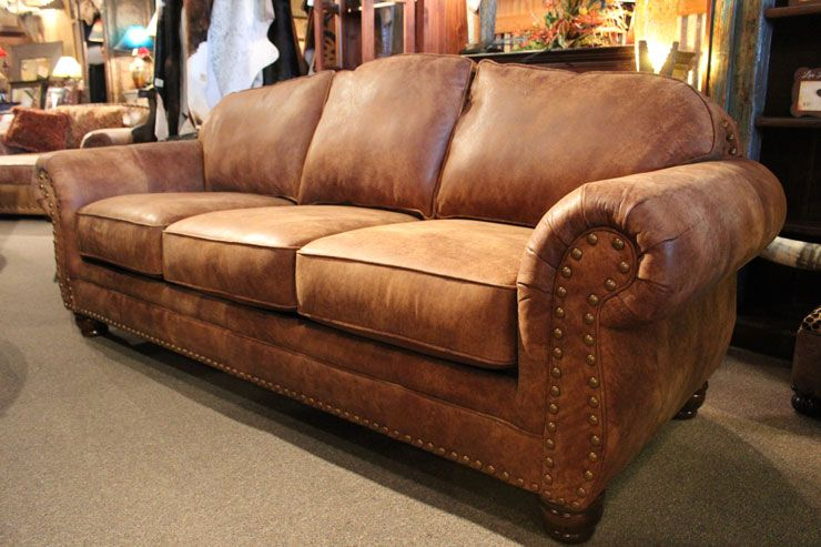 Andrew Leather Sofa With Antiqued Nailhead Trim Rustic Leather Sofa Leather Sofa Living Room Farm House Living Room