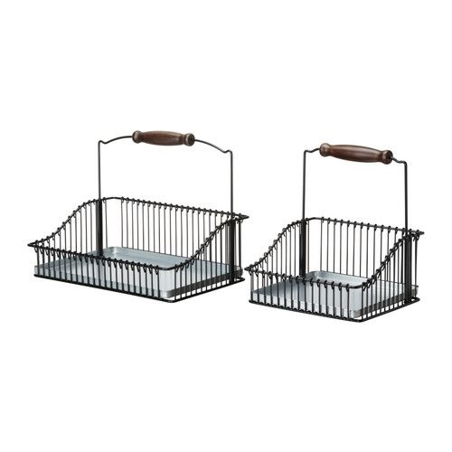 Fintorp Wire Basket With Handle Set Of 2 Black 19 99