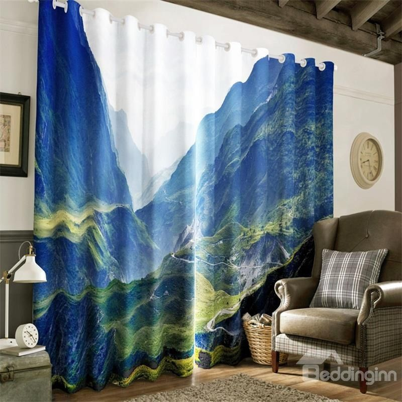 3d Steep Mountains And Narrow Valley Printed Natural Scenery 2