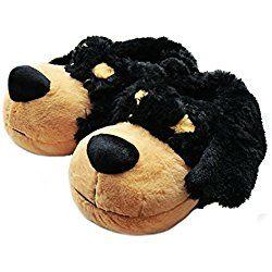 Fuzzy Animal Slippers For Men Black Dogs Dog Slippers Animal