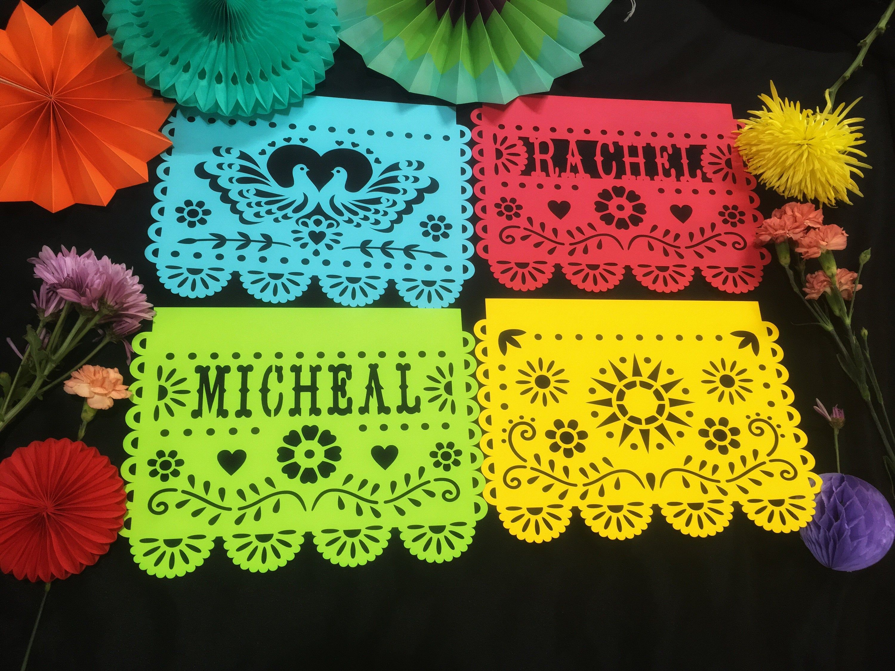 Floral Bunting Birthday Decor Personalized Banner Fiesta Bunting Personalized Bunting Fiesta Banner Floral Banner Party Decor