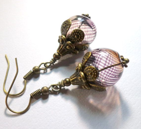 Jewelry Earrings Brown Swirl Hand Blown Hollow by SpiritCatDesigns