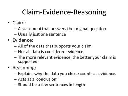 Image Result For Claim Evidence Reasoning Claim Evidence