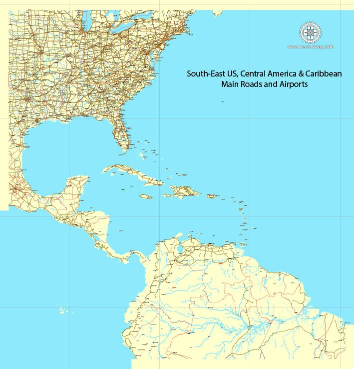US South-East Region Map Vector, Central America & Caribbean ...