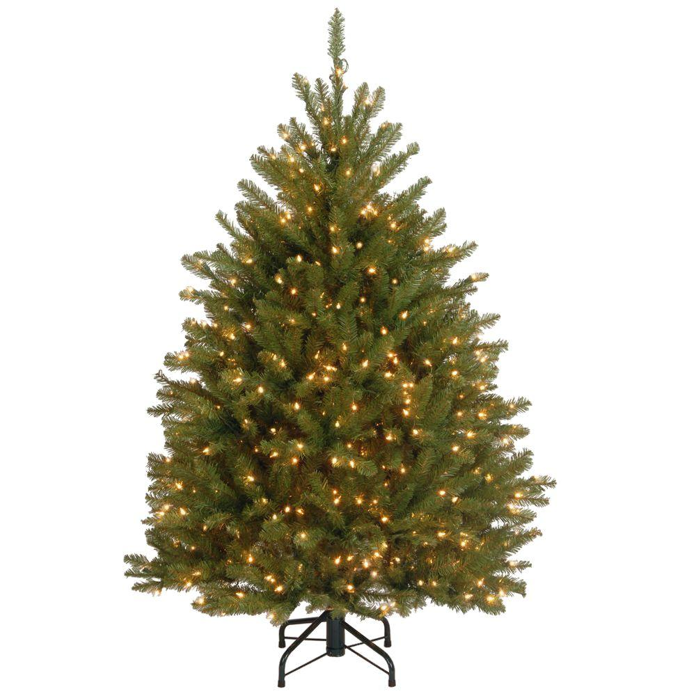 4.5 ft. Dunhill Fir Artificial Christmas Tree with 450 Clear ...
