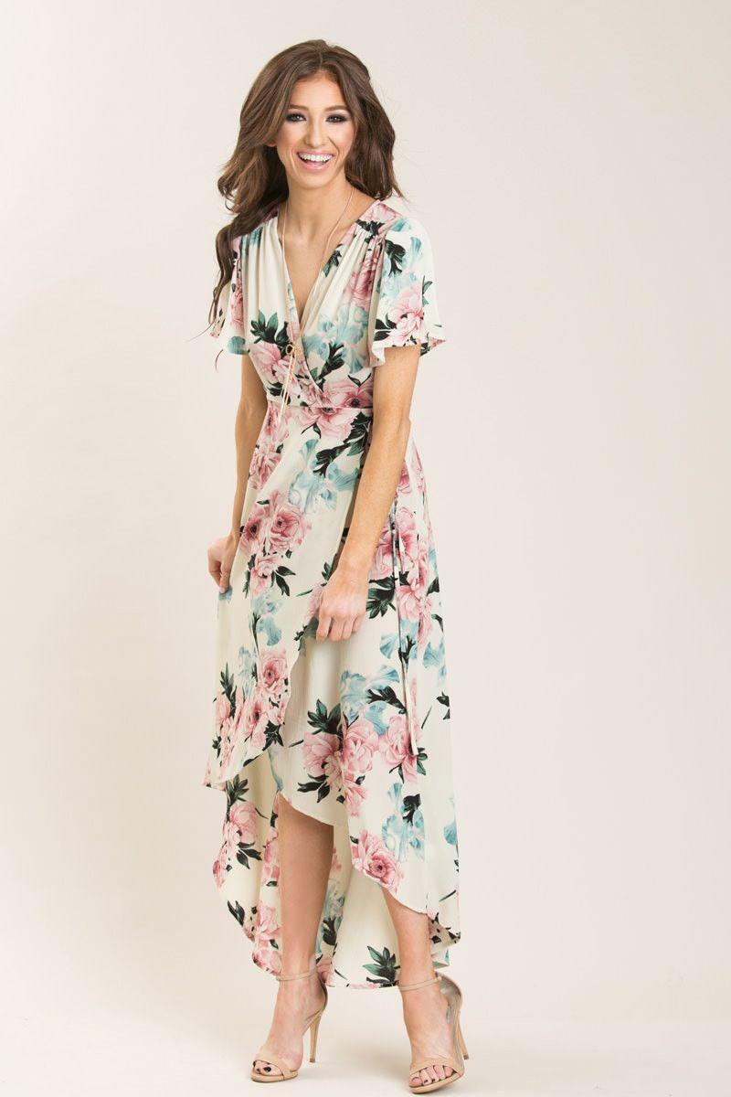 59b8d7bdc868 Cassandra Ivory Floral Wrap Dress - Morning Lavender