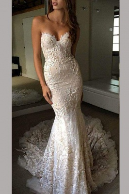 Chicloth Luxurious Sweetheart Strapless Lace Trumpet Court Train Wedding Dress