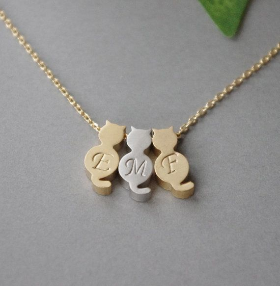Three 3 Cat Necklace Cat Jewelry Initial Cat Necklace