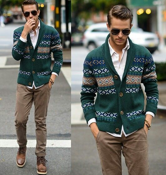 khaki pants   white button down   interesting sweater   brown ...