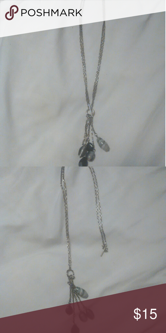 Lia Sophia Necklace Lia Sophia silver necklace with Black and grey glass beads can be worn short or long very beautiful I just don't ever wear it Lia Sophia Jewelry Necklaces