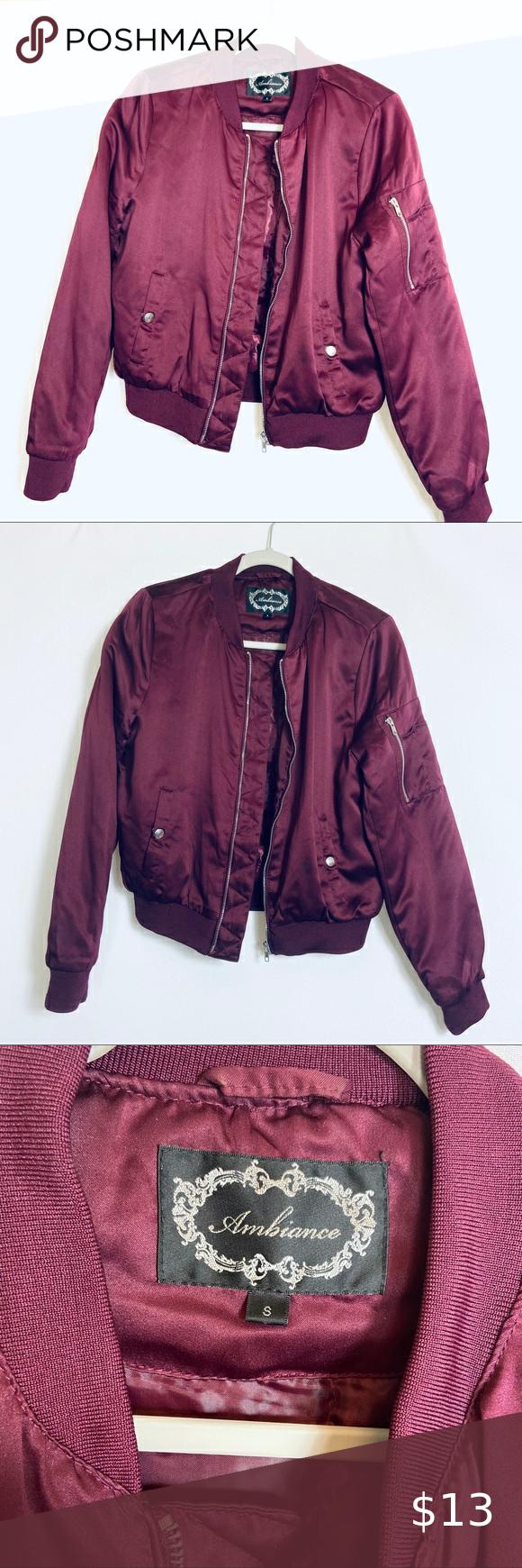 Ambiance Maroonsilky Bomber Jacket Euc Bomber Jacket Jackets Jackets For Women [ 1740 x 580 Pixel ]