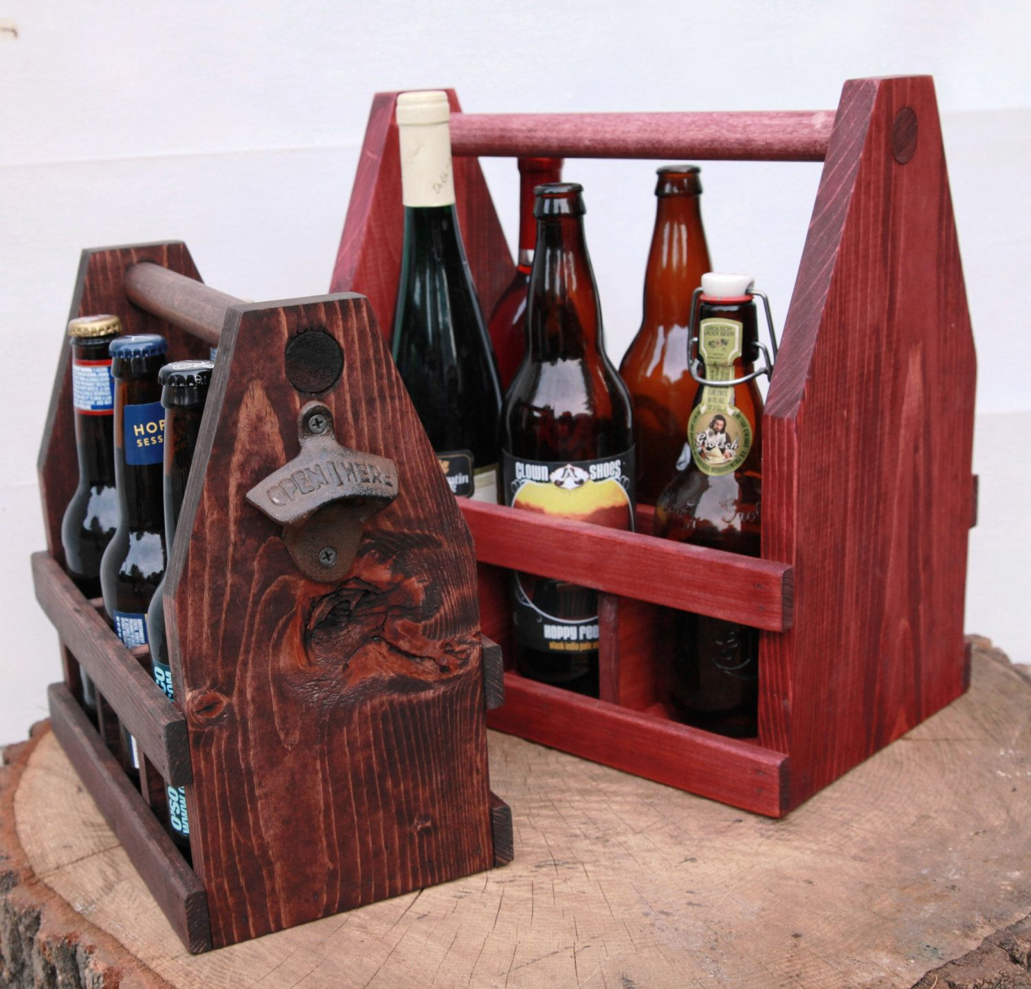 Craft Beer Exchange Large 22oz Bomber Beer Tote 750ml Wooden Etsy Beer Tote Wooden Wine And Liquor