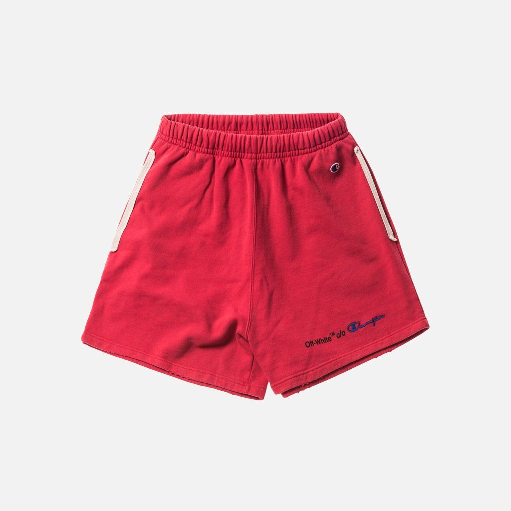 Off White X Champion Shorts Red Black Black And Red Gym Shorts Womens Black