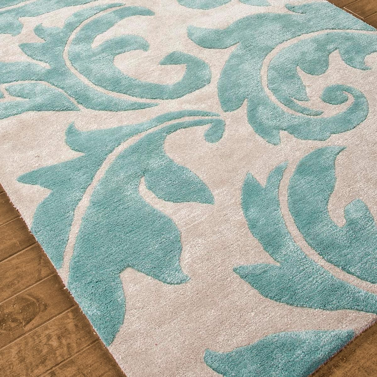 Modern Renaissance Scrolling Leaves Plush Rug: 4 Colors