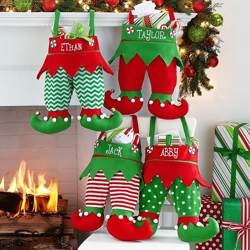 Jingle Bell Elf Pants Personalized Stocking Elves, Stockings and Santa