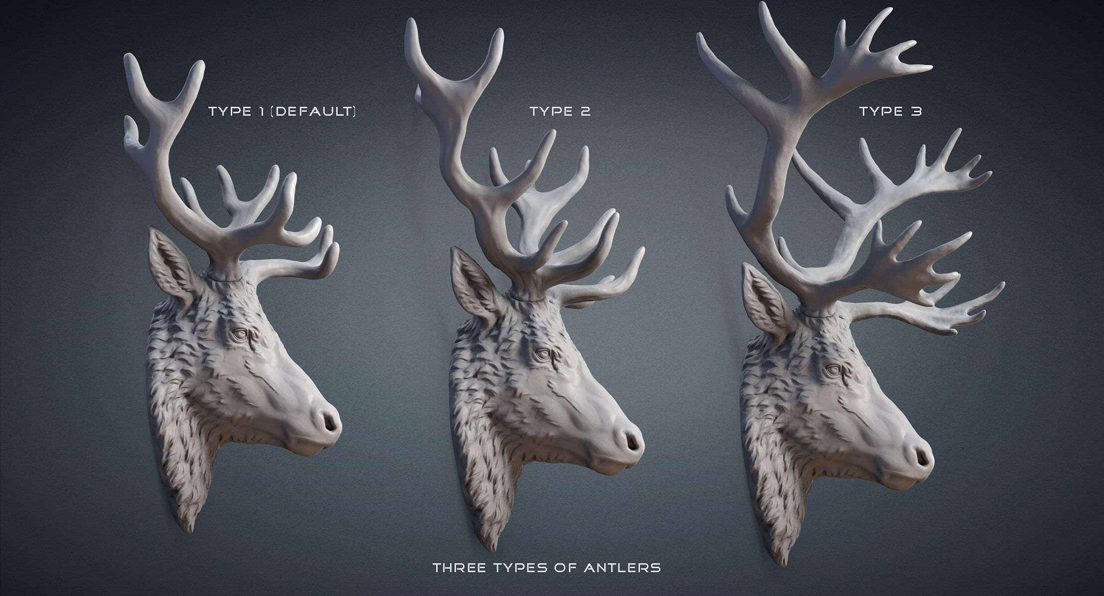 Stag Deer Reindeer Head Sculpture 3d Model For 3d Printing Cnc Carving Also For Making A Mold For Casting In Metal Plas Reindeer Tattoo Deer Statues Deer