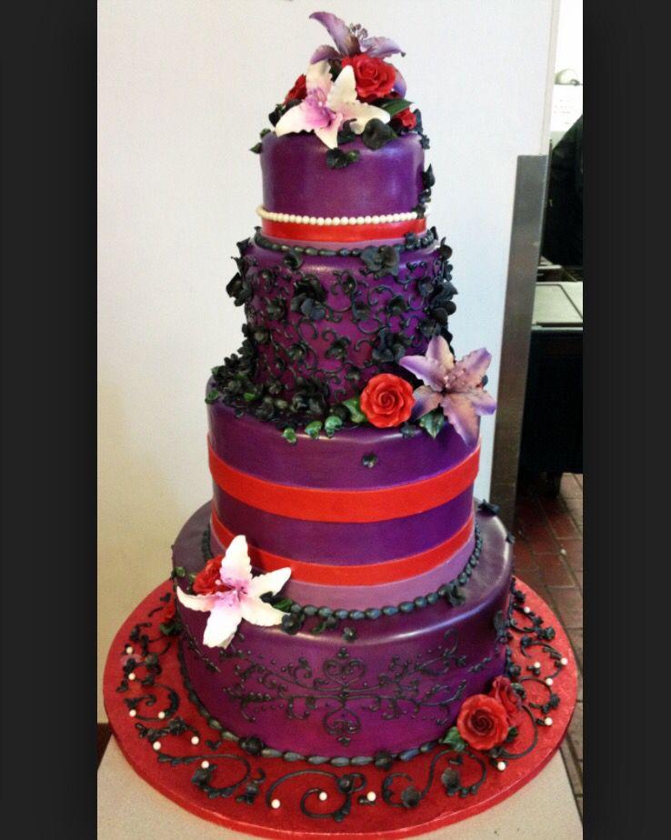 Red And Purple Wedding Cake