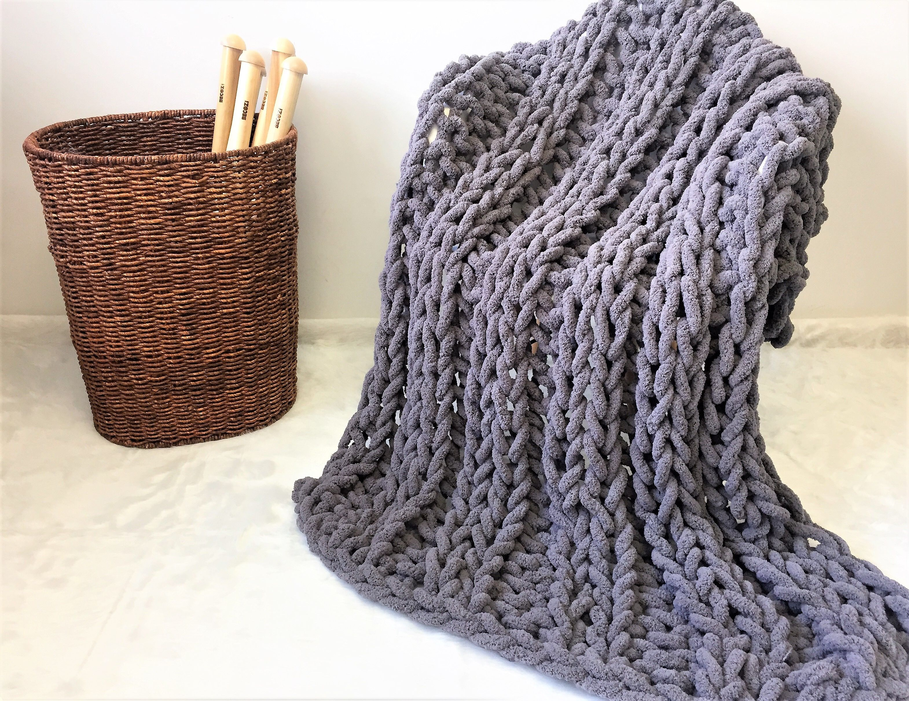 Super Chunky Chenille Yarn Blanket Super Soft And Bulky