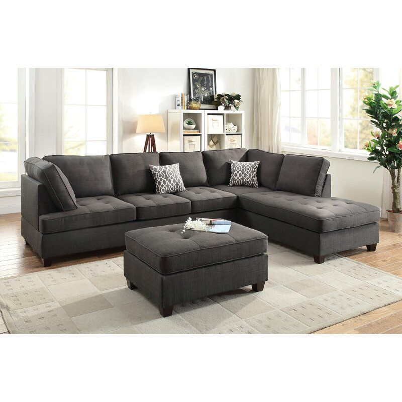 Reversible Sectional In 2020 Leather Sectional Sofas Sectional
