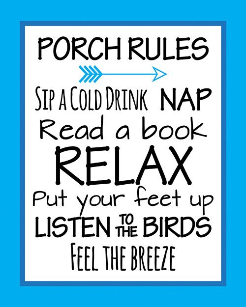 Free Porch Rules Home Decor Printable- Pretty Blue Wall Art! Porch