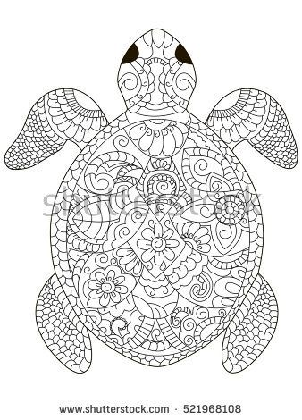 Sea Turtle Coloring Book For Adults Vector Illustration