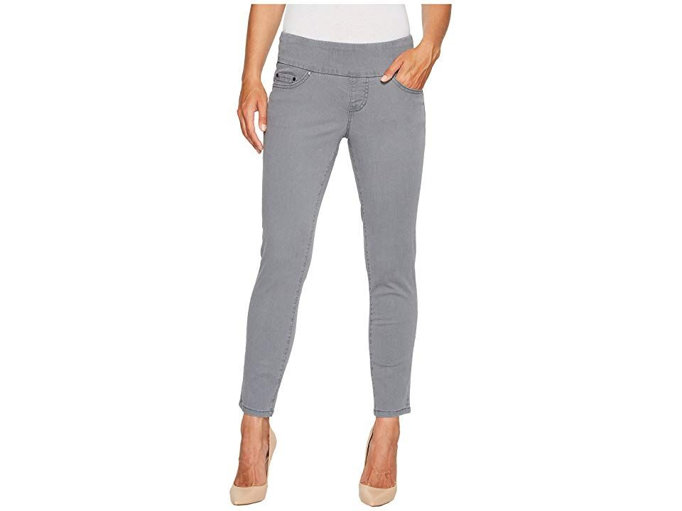 Jag Jeans Amelia Ankle in Bay Twill (Grey Streak) Women's Casual Pants. Effortlessly heighten your enjoyment of the day in this casual and chic Jag Jeans Amelia Ankle Pant. Pull-on  ankle-length jean has a higher rise and a skinny leg for a sleek  modern fit. Wide elastic waistband offers an easy fit and smooth silhouette. No dreaded muffin top in these jeans! Bay Twill pants in a comfortable 7.5 oz fabric. Classic five-pocket