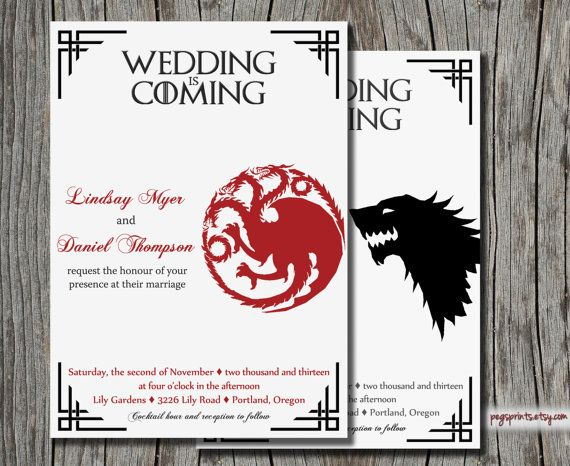 Dragon Wedding Invitation And RSVP Card Wolf Wedding Invitation - Geeky wedding invitation templates