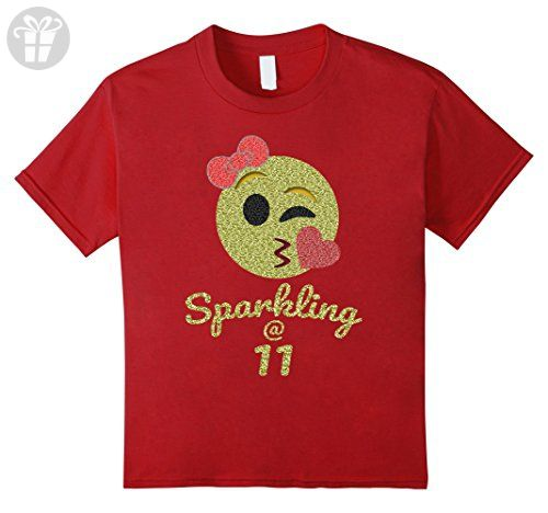 Kids 11th Birthday Shirt Gift For 11 Year Old Girls Sparkling 4 Cranberry