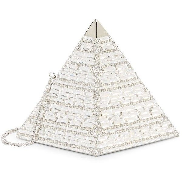 Judith Leiber Couture Pyramid Swarovski Crystal Clutch (€1.980) ❤ liked on Polyvore featuring bags, handbags, clutches, silver metallic handbags, metallic clutches, judith leiber clutches, metallic purse and silver hand bag