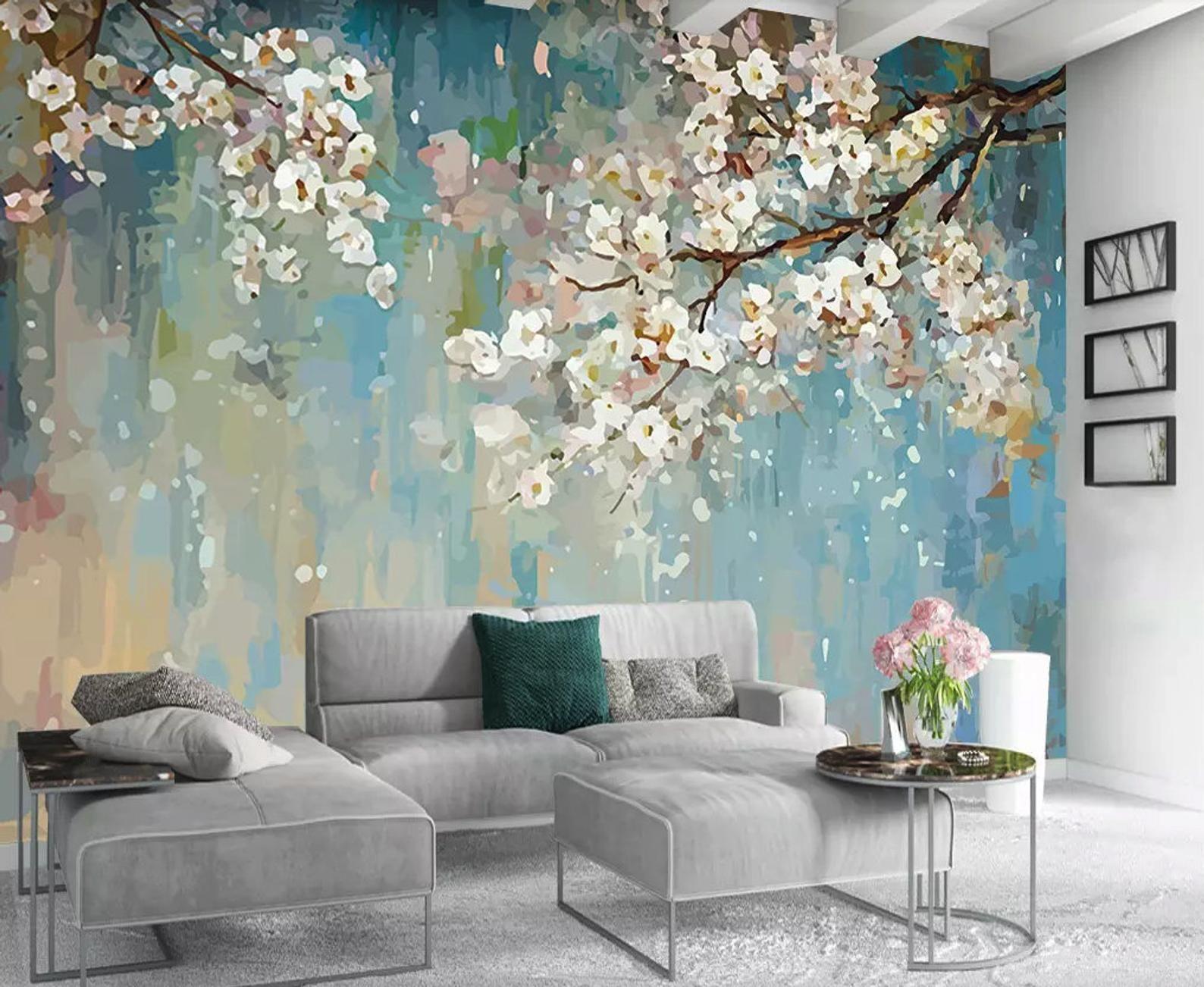Aquarel Witte Bloemen Textiel Wallpaper Trees Kunstwerk Etsy