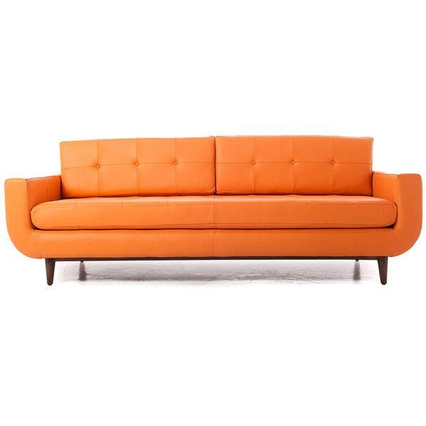 Joybird Gervin Mid Century Modern Purple Leather Sofa 48385 Ars