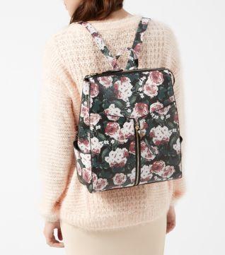Black Formal Floral Print Zip Front Backpack