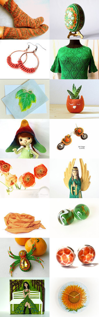 Orange and Green by Marlena Rakoczy on Etsy--Pinned with TreasuryPin.com