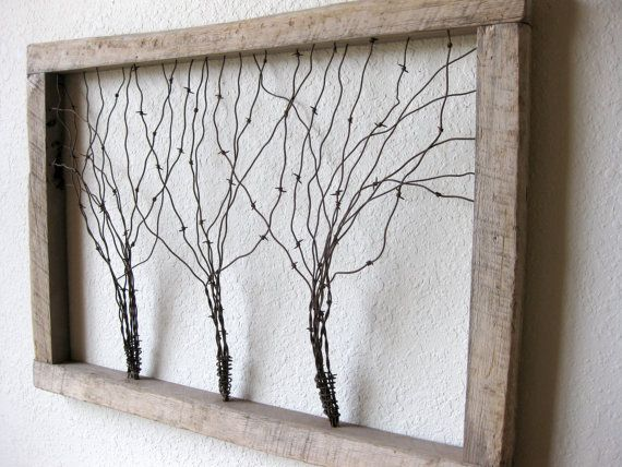 Large Reclaimed Barn Wood and Barbed Wire Tree Wall Art | ideas ...