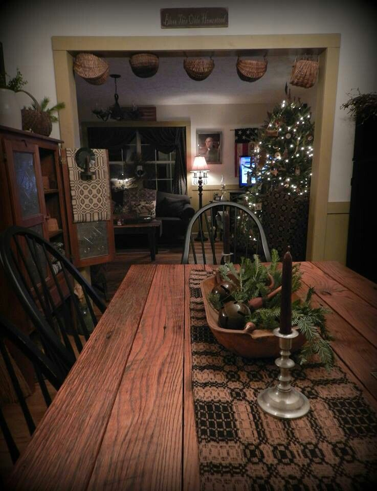 primitive dining farmhouse table colonial runner