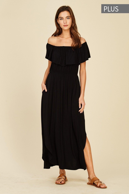 Plus Size Off Shoulder Maxi Dress Style# D5366P Plus size knit dress ...