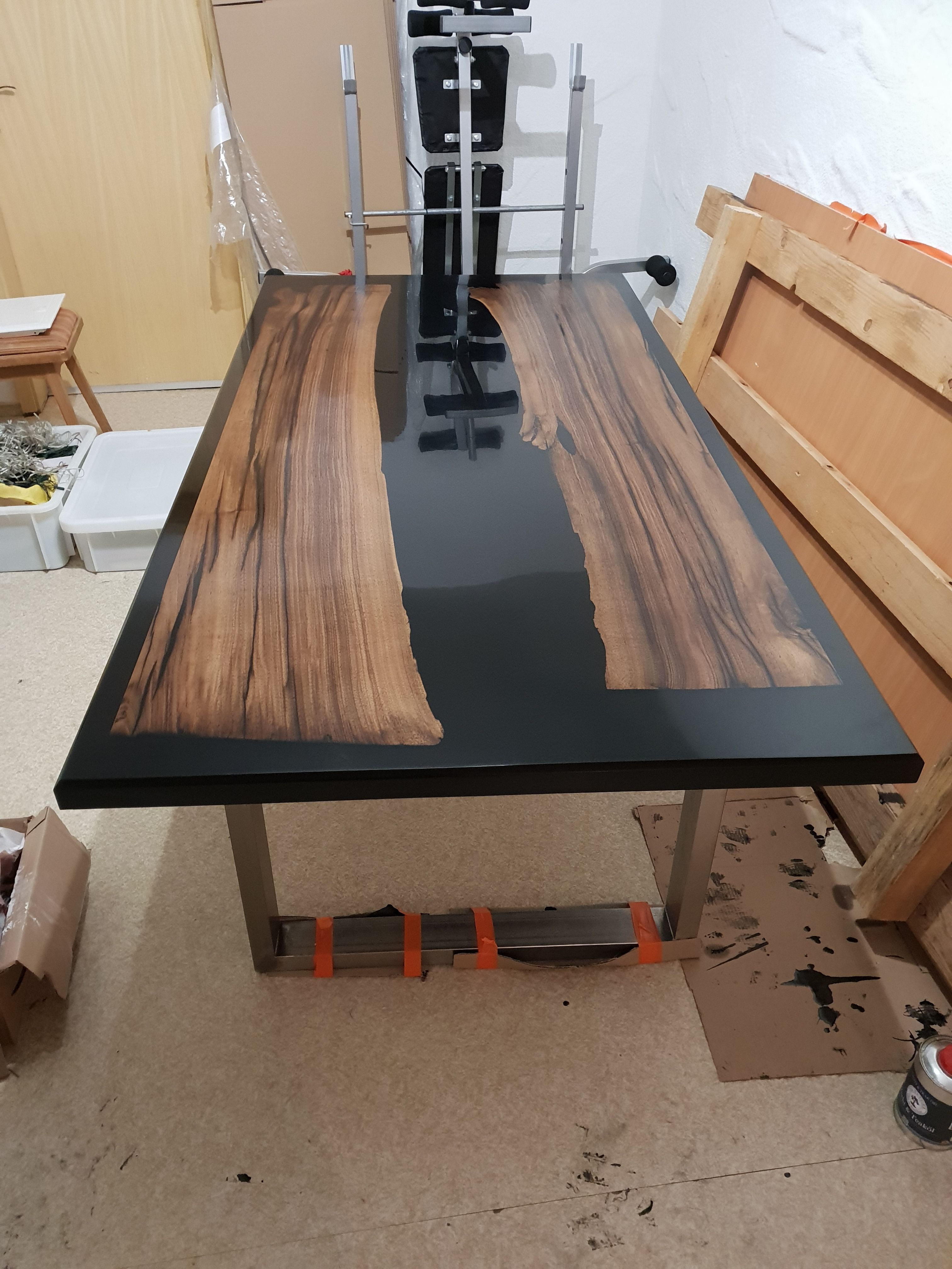 River Epoxy Dining Table Handmade Out Of Black Walnut And Black