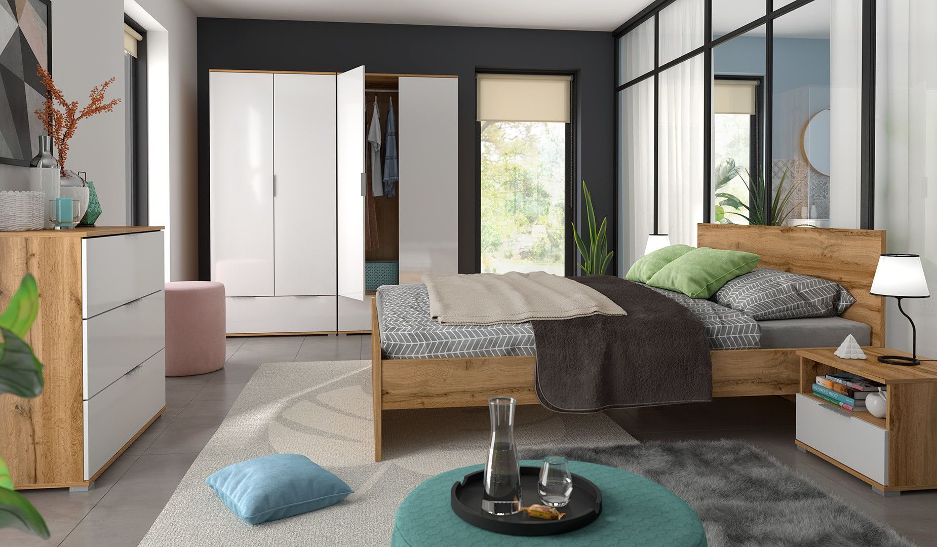 A modern sophisticated stylish bedroom furniture range with white ...