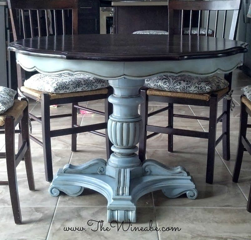 ascp louis blue paint dining table makeover | painted furniture