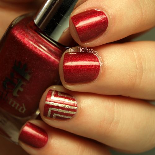 art deco accents polished nails