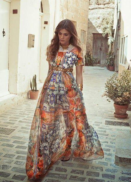 Dolce Gabbana Embellished Printed Brocade And Silk Chiffon Dress Boho Fashion Fashion Style