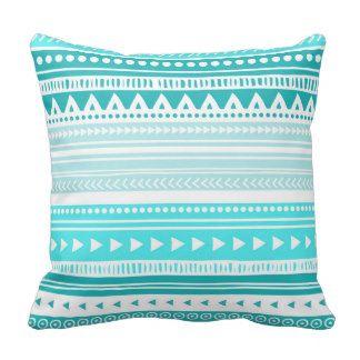 Teal Blue Tribal Decorative Pillow