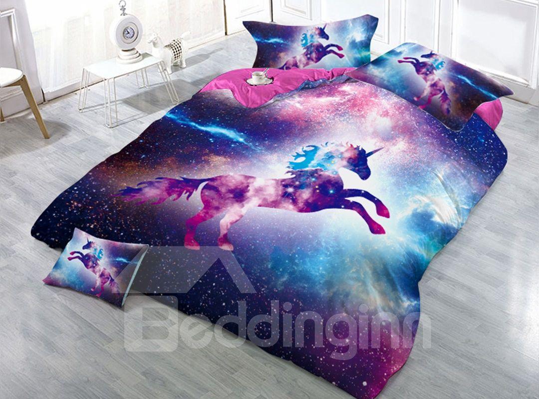 Unicorn and Purple Galaxy 3D 4Pcs Zipper Bedding Sets Warm