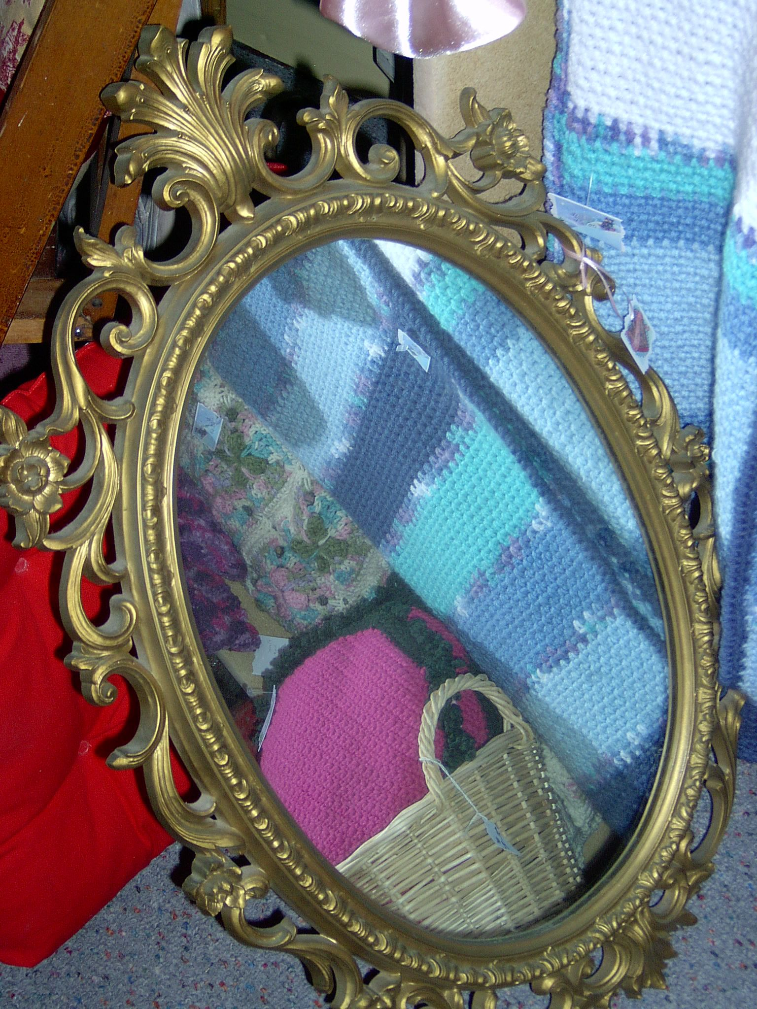 Great wood frame oval mirror