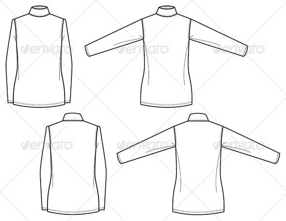 Flat Fashion Sketches for Womens Mock Turtleneck #