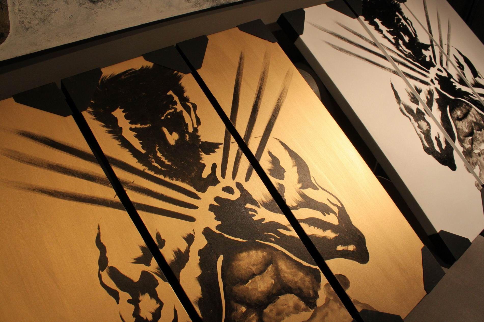 Gold black logan wolverine calligraphy brush movie fan art black