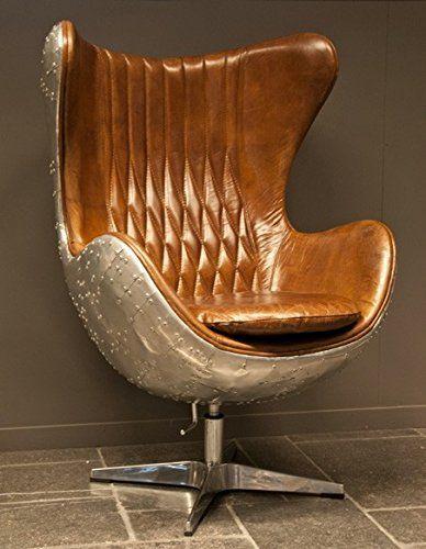 Delightful Casa Padrino Art Deco Egg Chair Drehstuhl Sessel Aluminium / Echt Leder  Braun   Club Sessel Nice Ideas