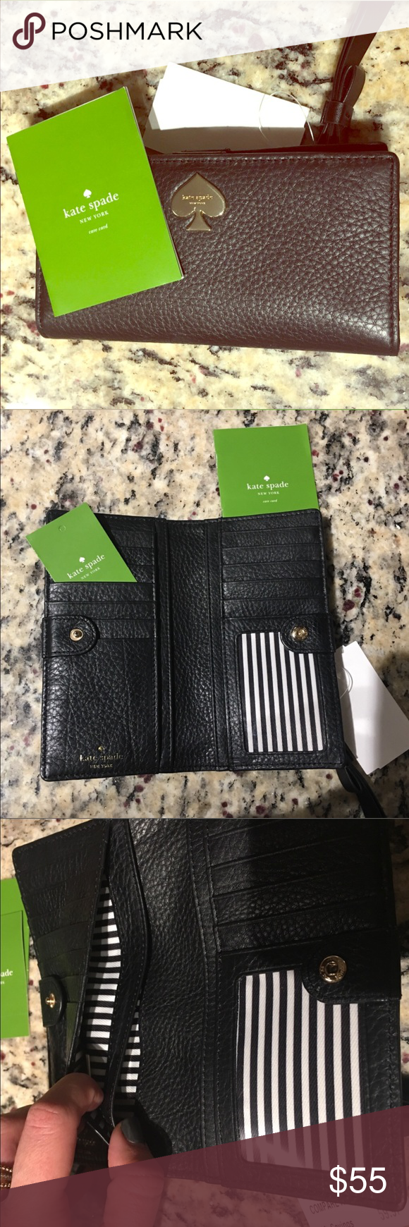 Kate Spade Black Leather Wallet Brand new Kate Spade wallet. No flaws, perfect condition. Has multiple slots for cash/receipts, and two sides of card slots. Adorable black and white striped design! Also has a zippered pouch with signature bow to pull zipper closed! kate spade Bags Wallets