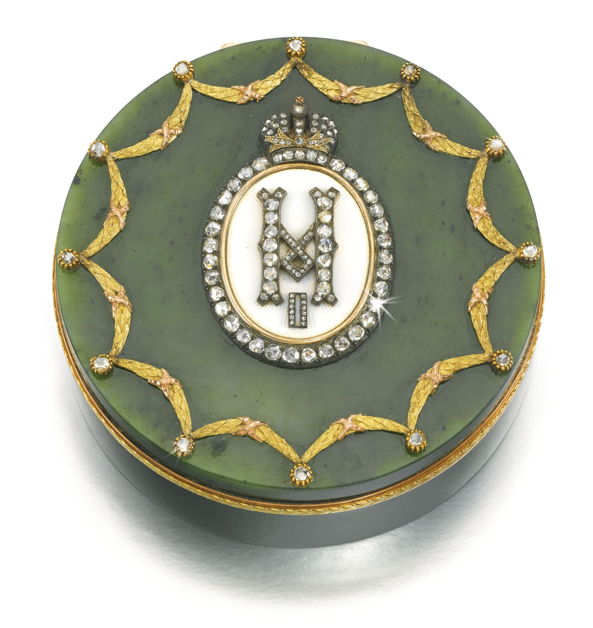 An Imperial Presentation Fabergé jewelled gold, enamel and hardstone box, workmaster Michael Perchin, St Petersburg, 1899-1903   lot   Sotheby's